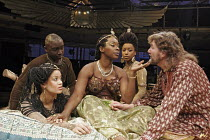 'ANTONY AND CLEOPATRA' (Shakespeare - director: Braham Murray),l-r: Gugu Mbatha-Raw (Iras), Ali Sichilongo (Mardian), Josette Bushell-Mingo (Cleopatra), Sarah Paul (Charmian), Tom Mannion (Antony),Roy...