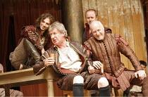 ANTONY AND CLEOPATRA   by Shakespeare   director/^Master of Play^: Dominic Dromgoole,II/vii - front l-r: John Bett (Lepidus), Nicholas Jones (Mark Antony),Shakespeare's Globe, Bankside, London SE1...