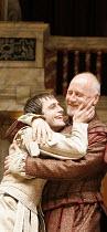 ANTONY AND CLEOPATRA   by Shakespeare  , director/^Master of Play^: Dominic Dromgoole,II/vii: Jack Laskey (Octavius Caesar), ,Nicholas Jones (Mark Antony),Shakespeare's Globe, Bankside, London SE1...
