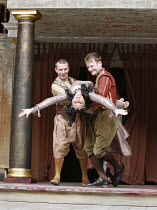 ANTONY AND CLEOPATRA   by Shakespeare   director/^Master of Play^: Dominic Dromgoole,I/i - l-r: Paul Lloyd (Mardian), Frances Barber (Cleopatra), Simon Muller (Alexas),Shakespeare's Globe, Bankside, L...