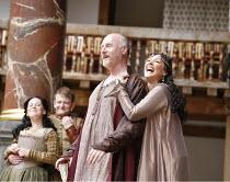 ANTONY AND CLEOPATRA   by Shakespeare   director/^Master of Play^: Dominic Dromgoole,I/i - l-r: Rhiannon Oliver (Iras), Simon Muller (Alexas), Nicholas Jones (Mark Antony), Frances Barber (Cleopatra),...
