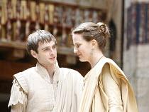 ANTONY AND CLEOPATRA   by Shakespeare   director/^Master of Play^: Dominic Dromgoole,II/iii: Jack Laskey (Octavius Caesar), Pascale Burgess (Octavia),Shakespeare's Globe, Bankside, London SE1    05/07...