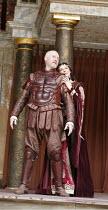 ANTONY AND CLEOPATRA   by Shakespeare   ,director/^Master of Play^: Dominic Dromgoole,IV/iv - l-r: Nicholas Jones (Mark Antony), Frances Barber (Cleopatra),Shakespeare's Globe, Bankside, London SE1...