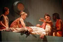 'ANTONY AND CLEOPATRA' (Shakespeare)~Cleopatra & companions with dead Antony, l-r: Clare Maguire (Livia), Susannah Elliot-Knight (Charmian), ~Tim Woodward (Mark Antony), Cathy Tyson (Cleopatra), Ivy O...