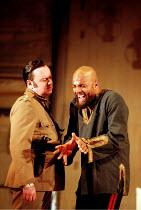 OTHELLO  by Shakespeare  design: Robert Jones  lighting: Peter Mumford  fights: Terry King  director: Michael Attenborough ~l-r: Richard McCabe (Iago), Ray Fearon (Othello) ~Royal Shakespeare Company...