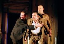 OTHELLO  by Shakespeare  design: Robert Jones  lighting: Peter Mumford  fights: Terry King  director: Michael Attenborough ~final scene, Iago restrained: (centre) Richard McCabe (Iago)~Royal Shakespea...