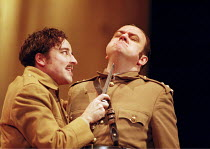 OTHELLO  by Shakespeare  design: Robert Jones  lighting: Peter Mumford  fights: Terry King  director: Michael Attenborough ~l-r: Aidan McArdle (Roderigo), Richard McCabe (Iago)~Royal Shakespeare Compa...