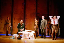 OTHELLO  by Shakespeare  design: Robert Jones  lighting: Peter Mumford  fights: Terry King  director: Michael Attenborough ~final scene, Othello kneels by the bodies of Emilia and Desdemona  Ray Fearo...