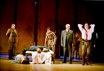OTHELLO  by Shakespeare  design: Robert Jones  lighting: Peter Mumford  fights: Terry King  director: Michael Attenborough ~final scene, Othello lies dead between the bodies of Emilia and Desdemona~(o...