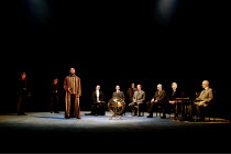 OTHELLO  by Shakespeare  design: Robert Jones  lighting: Peter Mumford  fights: Terry King  director: Michael Attenborough ~standing: Ray Fearon (Othello)   seated, right: Geoffrey Whitehead (Duke of...