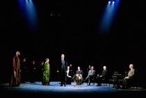 OTHELLO  by Shakespeare  design: Robert Jones  lighting: Peter Mumford  fights: Terry King  director: Michael Attenborough ~I/iii - standing, l-r: Ray Fearon (Othello),  Zoe Waites (Desdemona), Richar...