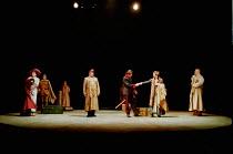 OTHELLO  by Shakespeare  design: Robert Jones  lighting: Peter Mumford  fights: Terry King  director: Michael Attenborough ~II/i: Cassio greets Desdemona & companions  front, l-r: Zoe Waites (Desdemon...