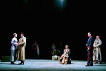 OTHELLO  by Shakespeare  design: Robert Jones  lighting: Peter Mumford  fights: Terry King  director: Michael Attenborough ~II/i - l-r: Zoe Waites (Desdemona), Richard McCabe (Iago), (seated) Rachel J...
