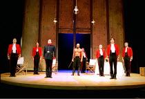 OTHELLO  by Shakespeare  design: Robert Jones  lighting: Peter Mumford  fights: Terry King  director: Michael Attenborough ~II/ii - Othello disrupts fight: (3rd left) Richard McCabe (Iago), (centre) R...