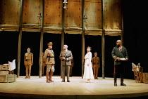 OTHELLO  by Shakespeare  design: Robert Jones  lighting: Peter Mumford  fights: Terry King  director: Michael Attenborough ~(front left) Richard McCabe (Iago), Zoe Waites (Desdemona), (right) Ray Fear...