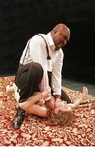 OTHELLO  by Shakespeare  design: Nick Ormerod  lighting: Judith Greenwood  director: Declan Donnellan ~Nonso Anozie (Othello), Caroline Martin (Desdemona) ~Cheek by Jowl, Riverside Studios, London W6...