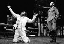OTHELLO   by Shakespeare   design: Pamela Howard   lighting: Brian Harris   director: Ronald Eyre ~l-r: Donald Sinden (Othello), Bob Peck (Iago) ~Royal Shakespeare Company (RSC), Royal Shakespeare The...