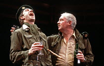 OTHELLO  by Shakespeare  design: Shelagh Keegan  director: David Thacker <br>~l-r: Brian Protheroe (Cassio), David Calder (Iago)~The Young Vic, London SE1  10/05/1984~(c) Donald Cooper/Photostage   ph...