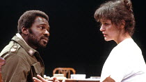 OTHELLO  by Shakespeare  design: Shelagh Keegan  director: David Thacker <br>~Rudolph Walker (Othello), Kate Fahy (Desdemona)~The Young Vic, London SE1  10/05/1984~(c) Donald Cooper/Photostage   photo...