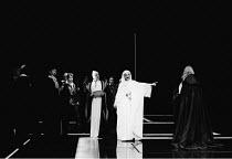 'OTHELLO' (Shakespeare)~centre, arm outstretched: Ben Kingsley (Othello)~RSC/RST, Stratford-upon-Avon  1985