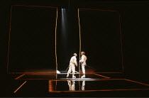 OTHELLO by Shakespeare  set design: Ralph Koltai  costumes: Alexander Reid  lighting: Terry Hands & Clive Morris  director: Terry Hands ~l-r: David Suchet (Iago), Tom Mannion (Cassio)~Royal Shakespear...