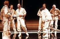 OTHELLO by Shakespeare  set design: Ralph Koltai  costumes: Alexander Reid  lighting: Terry Hands & Clive Morris  director: Terry Hands ~3rd left: David Suchet (Iago) ~Royal Shakespeare Company (RSC),...