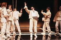 OTHELLO by Shakespeare  set design: Ralph Koltai  costumes: Alexander Reid  lighting: Terry Hands & Clive Morris  director: Terry Hands ~centre: David Suchet (Iago) ~Royal Shakespeare Company (RSC), R...