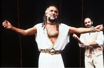 OTHELLO by Shakespeare  set design: Ralph Koltai  costumes: Alexander Reid  lighting: Terry Hands & Clive Morris  director: Terry Hands ~l-r: Ben Kingsley (Othello), David Suchet (Iago) ~Royal Shakesp...