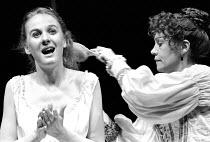 'OTHELLO' (Shakespeare)~l-r: Niamh Cusack (Desdemona), Janet Dale (Emilia)~RSC/Barbican Theatre, London EC1   01/1986
