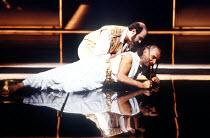 OTHELLO by Shakespeare  set design: Ralph Koltai  costumes: Alexander Reid  lighting: Terry Hands & Clive Morris  director: Terry Hands ~(top) David Suchet (Iago), Ben Kingsley (Othello) ~Royal Shakes...