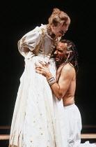OTHELLO by Shakespeare  set design: Ralph Koltai  costumes: Alexander Reid  lighting: Terry Hands & Clive Morris  director: Terry Hands ~Niamh Cusack (Desdemona), Ben Kingsley (Othello)~Royal Shakespe...