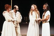 OTHELLO by Shakespeare  set design: Ralph Koltai  costumes: Alexander Reid  lighting: Terry Hands & Clive Morris  director: Terry Hands ~l-r: Janet Dale (Emilia), David Suchet (Iago), Niamh Cusack (De...