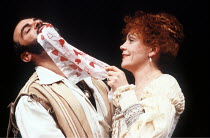 OTHELLO by Shakespeare  set design: Ralph Koltai  costumes: Alexander Reid  lighting: Terry Hands & Clive Morris  director: Terry Hands ~David Suchet (Iago), Janet Dale (Emilia) ~Royal Shakespeare Com...