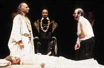 OTHELLO by Shakespeare  set design: Ralph Koltai  costumes: Alexander Reid  lighting: Terry Hands & Clive Morris  director: Terry Hands ~front, l-r: Niamh Cusack (Desdemona), Ben Kingsley (Othello), D...