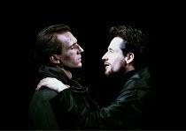'CORIOLANUS' (Shakespeare)~l-r: Ralph Fiennes (Coriolanus), Linus Roache (Tullus Aufidius)~Almeida Theatre/Gainsborough Studios, London N1  14/06/2000
