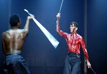 CORIOLANUS  by Shakespeare  design: Ti Green  lighting: Hartley T A Kemp  fights: Terry King  movement: Lorna Marshall  director: David Farr   l-r: Chuk Iwuji (Tullus Aufidius), Greg Hicks (Coriolan...