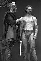 CORIOLANUS   by Shakespeare - director: Trevor Nunn,l-r: Clement McCallin (Cominius), Ian Hogg (Coriolanus),Royal Shakespeare Company / Royal Shakespeare Theatre   Stratford-upon-Avon   11/04/1972,