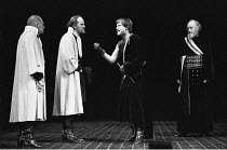 CORIOLANUS   by Shakespeare   director: Terry Hands,l-r: Paul Imbusch (Nicanor - check?/tbc), Oliver Ford-Davies (Junius Brutus), Alan Howard (Coriolanus), Graham Crowden (Menenius),Royal Shakespeare...