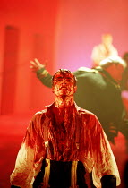 'CORIOLANUS' (Shakespeare)~bloodied but triumphant: Toby Stephens (Coriolanus)~Royal Shakespeare Company/Barbican Theatre, London EC2   10th August 1995