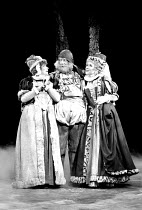 'THE MERRY WIVES OF WINDSOR' (Shakespeare) l-r: Jane Downs (Mistress Page), John Woodvine (Falstaff), Susan Tracy (Mistress Ford) RSC/Aldwych Theatre, London WC2  08/05/1980
