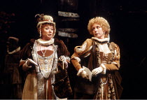 'THE MERRY WIVES OF WINDSOR' (Shakespeare) l-r: Jane Downs (Mistress Page), Susan Tracy (Mistress Ford) Royal Shakespeare Company / Aldwych Theatre, London         08/05/1980