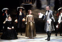 ALL'S WELL THAT ENDS WELL  by Shakespeare  design: John Gunter  lighting: Rick Fisher  director: Peter Hall <br> l-r: Barbara Jefford (The Countess), Rebecca Saire (Diana), Richard Johnson (King of F...