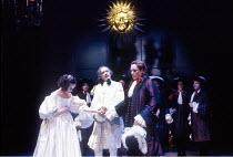 ALL'S WELL THAT ENDS WELL  by Shakespeare  design: John Gunter  lighting: Rick Fisher  director: Peter Hall <br>~l-r: Sophie Thompson (Helena), Richard Johnson (King of France), Toby Stephens (Bertram...