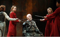 HENRY VI part 1   by Shakespeare   director: Michael Boyd,I/v:  left: Katy Stephens (Joan La Pucelle)   centre: Keith Bartlett (Lord Talbot) and Fiends,part of RSC ^The Complete Works^ Festival - Apri...
