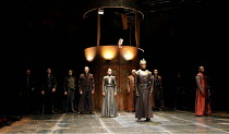 HENRY VI part 3   by Shakespeare   director: Michael Boyd,II/ii - Parley before Towton - rear centre: Katy Stephens (Queen Margaret), front centre: Chuk Iwuji (Henry VI),part of RSC ^The Complete Work...