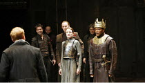 HENRY VI part 3   by Shakespeare   director: Michael Boyd,II/ii - Parley before Towton - left, back to camera: Forbes Masson (Edward)   front centre: Katy Stephens (Queen Margaret)   front right: Chuk...