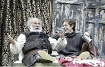 'HENRY IV/i ' (Shakespeare - director: Alan Strachan)~l-r: Christopher Benjamin (Falstaff), Jordan Frieda (Prince Hal)~Open Air Theatre / Regent's Park, London                    07/06/2004