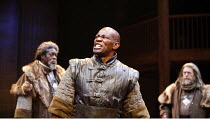 HENRY IV part i  by Shakespeare   director: Barbara Gaines,l-r: Bruce A. Young (Henry Percy, Duke of Northumberland), John Douglas Thompson (Hotspur), Robert Scogin (Earl of Worcester),Chicago Shakesp...