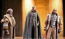 HENRY IV part i  by Shakespeare   director: Barbara Gaines,l-r: Bruce A. Young (Henry Percy, Duke of Northumberland), David Lively (King Henry IV), John Douglas Thompson (Hotspur),Chicago Shakespeare...