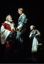 'HENRY IV/i' (Shakespeare)~l-r: Brewster Mason (Sir John Falstaff), Alan Howard (Henry, Prince of Wales), Maureen Pryor (Mistress Quickly)~RSC/RST, Stratford-upon-Avon                       1975